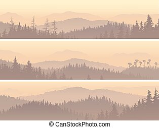 Set horizontal banners of wild coniferous forest in morning fog.