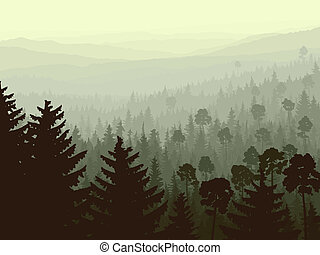 Vector landscape of wild coniferous forest in morning fog with firs in foreground in dark green tone.