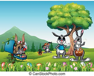 Lb conigli di cartone animato su sfondo di uova di pasqua fiore