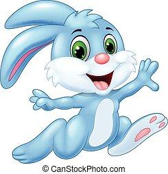 coniglietto, correndo, cartone animato, felice