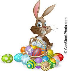 coniglietto pasqua, coniglio, con, uovo di pasqua