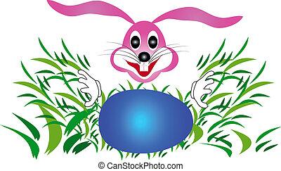 coniglietto pasqua, coniglio, guardando, uova, in, il, erba