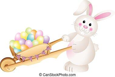 coniglietto, portante, uova pasqua