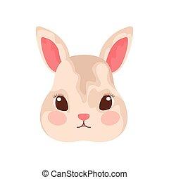coniglietto, sfondo bianco, carino, testa