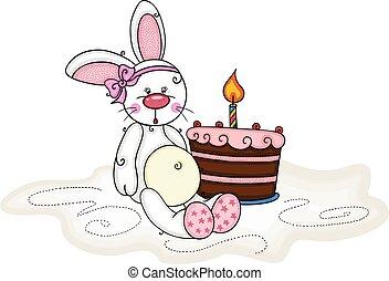 coniglietto, torta candela, ragazza, compleanno, bambino