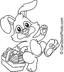 coniglietto, uova, pasqua, cartone animato, coniglio, cesto