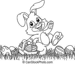 coniglietto, uova, pasqua, cartone animato, fondo, coniglio, cesto