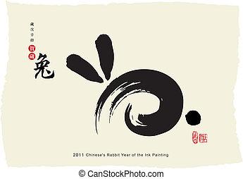coniglio, anno, di, il, dipinto inchiostro
