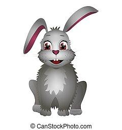 coniglio, bianco, isolato, cartone animato, fondo., appartamento, carino, style., pasqua