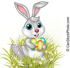 coniglio, cartone animato, colorito, presa a terra