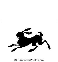 coniglio, fondo, vettore, silhouette, bianco