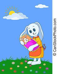 coniglio, madre, con, bambino
