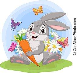 coniglio, presa a terra, cartone animato, carota, erba