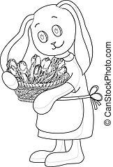 coniglio, ragazza, con, fiori, contorni
