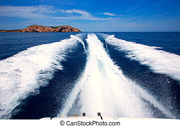 conillera, san, île, antonio, ibiza, sillage, sommes, bateau