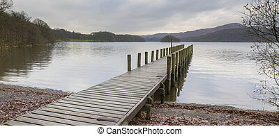 Wooden jetty in the lake district