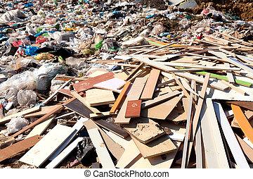 conjugal, déchets, mise en décharge, tas