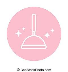 conjugal, icône, bloc, plongeur, style, nettoyage, poignée, bois, hygiène, caoutchouc, couleur
