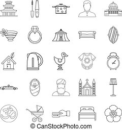 Conjugal icons set, outline style - Conjugal icons set....