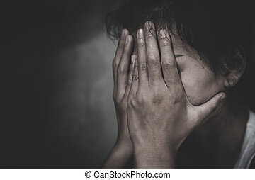 conjugal, pleurer, violence, abuse., femme, hopelessness., victime, jeune