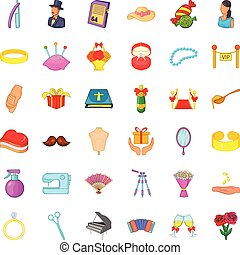 Conjunction icons set, cartoon style - Conjunction icons...
