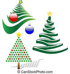 conjunto, árbol 3, elementos, diseño, feliz navidad