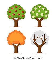 conjunto, árbol, manzana