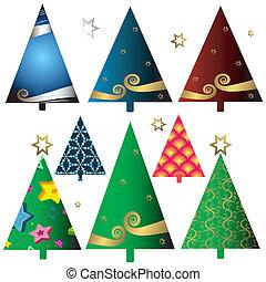 conjunto, árboles de navidad