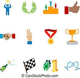 conjunto, éxito, serie, elementos, diseño, victoria, icono