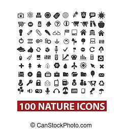 conjunto, 100, vector, naturaleza, iconos