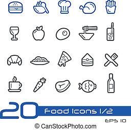 //, conjunto, 1/2, iconos, alimento, serie, -, línea