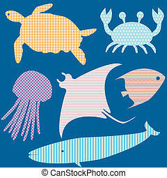 conjunto, 2, de, pez, siluetas, con, simple, patrones