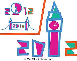 conjunto, 3, londres, ilustraciones, games., 2012