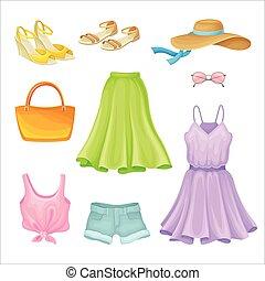 conjunto, abierto, calzoncillos, azul, dedo del pie, tela vaquera, vector, ropa de verano, shoes