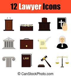 conjunto, abogado, icono