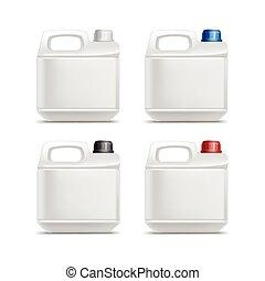 conjunto, abstergent, limpiador, aislado, bote, plástico, detergente, aceite, jerrycan, blanco, galón