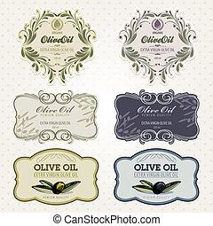 conjunto, aceite, aceituna, etiquetas