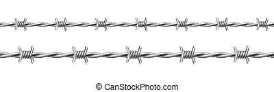 conjunto, acero, alambre, torcido, barbwire, lengüetas