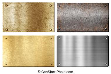 conjunto, acero, aluminio, metal, aislado, latón, placas,...