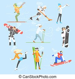 conjunto, activities., invierno, ilustración, deportes, vector