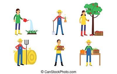 conjunto, agrícola, jardín, granja, ilustración, caracteres, concepto, hombres, o, vegetal, mujeres que trabajan