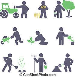 conjunto, agriculture., iconos