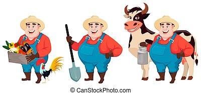conjunto, agronomist, tres, grasa, granjero, posturas