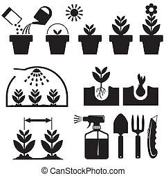 conjunto, agrotechnics, iconos