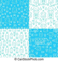 conjunto, agua, patrones