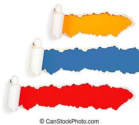conjunto, agujeros, aislado, rasgón, papel, blanco