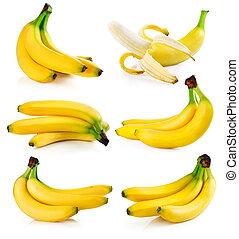 conjunto, aislado, fruits, fresco, blanco, plátano