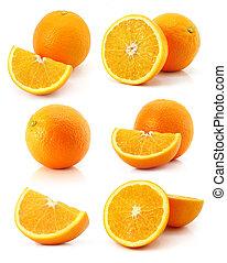 conjunto, aislado, fruits, naranja, fresco, blanco