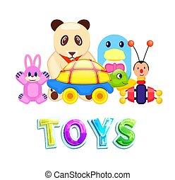 conjunto, aislado, niños, plano de fondo, juguetes, blanco,...
