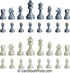 Conjunto, ajedrez, pedazos